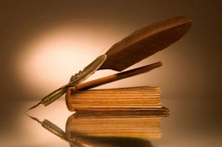 Buku dan pena bulu ayam