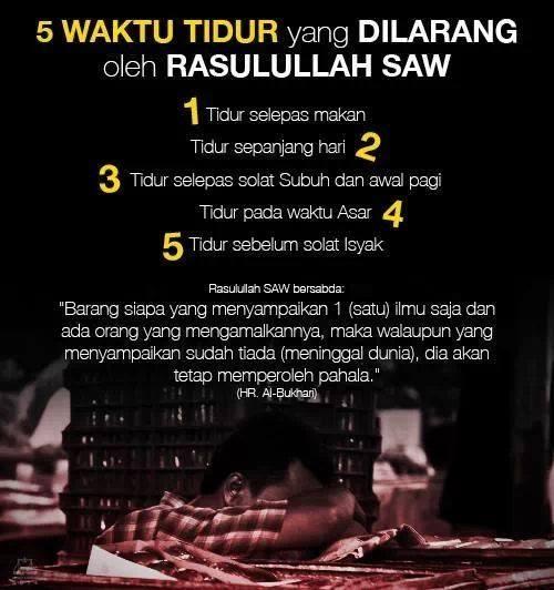 5 waktu Tidur yg di larang Rosul