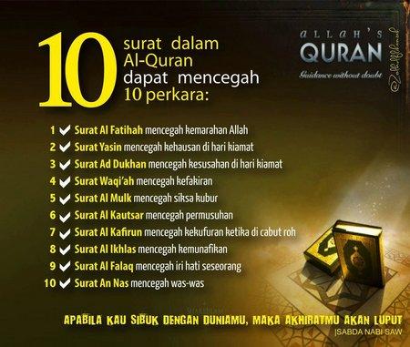 Quran sepuluh surah nya bisa mencegah perkara