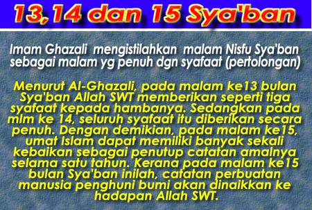 13 14 & 15 Sya'ban