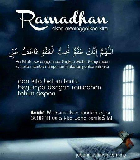 Ramadhan akan meninggalkan kita