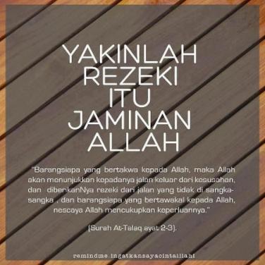 Kata Kata Islami Tentang Rezeki