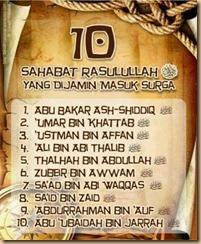 10 sahabat nabi yg di jamin masuk syurga